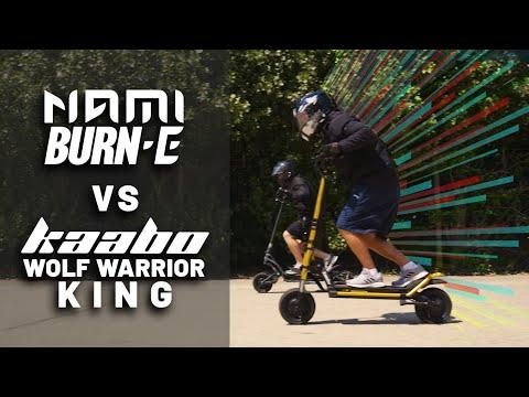 Nami Burn-e VS Kaabo Wolf Warrior King Electric Scooter 100m drag race!